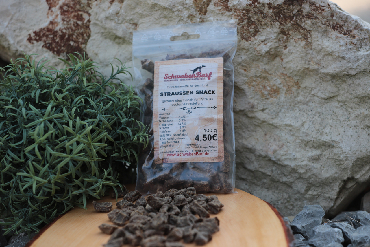 Schwabenbarf Straussen Snack (100 gr)
